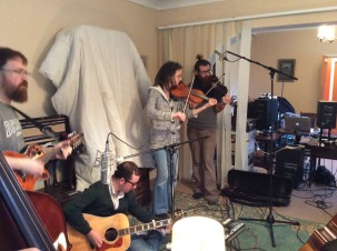 Enda Reilly, Mark McGuigan, myself & Christophe Capewell @ the Lazy Band sessions, Galway